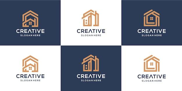 Ensemble de logo de maison de construction