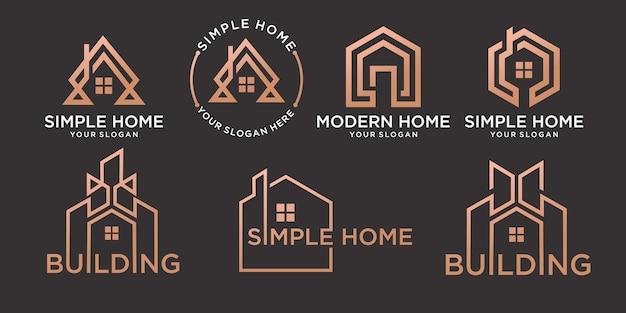 Ensemble de logo maison ou immobilier simple avec un modèle de concept de contour moderne créatif vecteur premium
