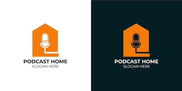 Ensemble de logo de maison de podcast minimaliste