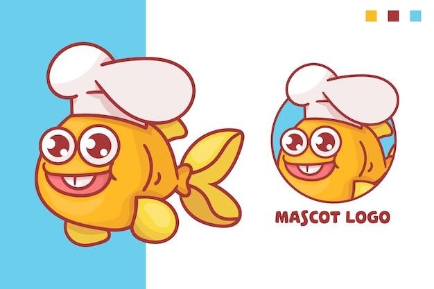 Ensemble de logo de mascotte de chef de poisson mignon avec apparence facultative. kawaii