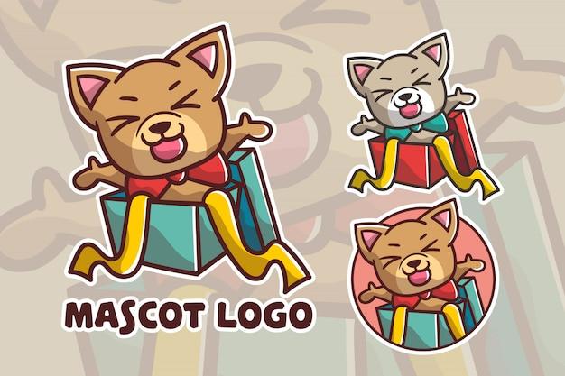 Ensemble de logo de mascotte chien cadeau mignon