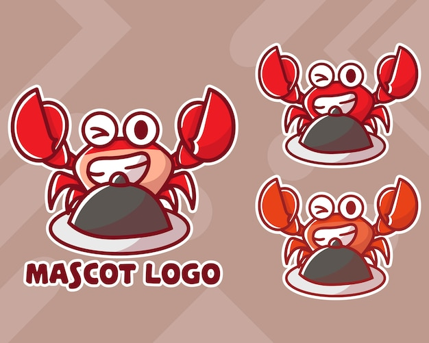 Ensemble De Logo De Mascotte De Crabe Mignon Avec Apparence Facultative. Vecteur Premium