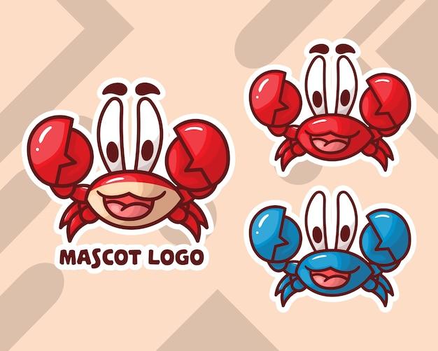 Ensemble de logo de mascotte de crabe mignon avec apparence facultative.