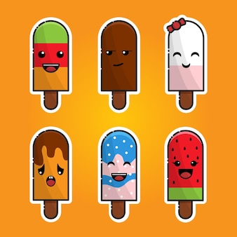 Ensemble de logo de mascotte kawaii es cream