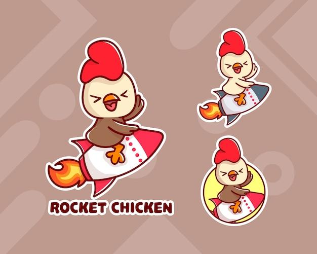 Ensemble de logo de mascotte de poulet roquette mignon avec apparence facultative.