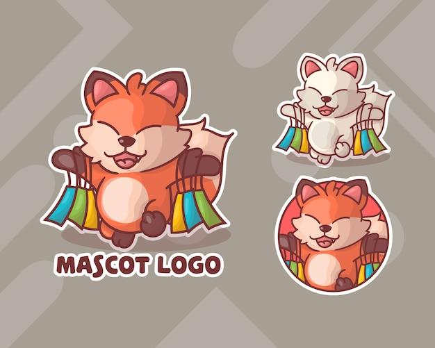 Ensemble de logo de mascotte de renard de shopping mignon avec apparence facultative.