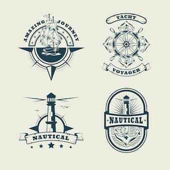 Ensemble de logo monochrome nautique