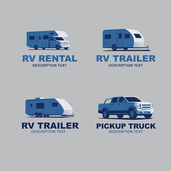 Ensemble de logo monochrome de voiture de camping-car illustration vectorielle