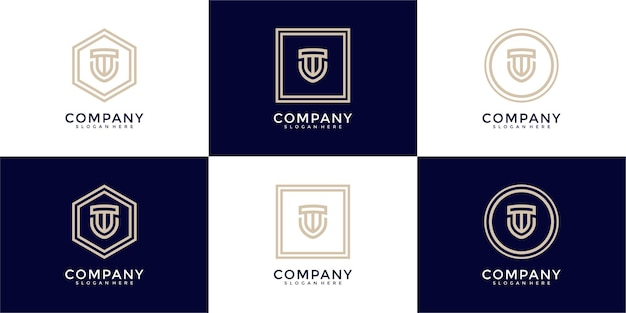 Ensemble de logo monogramme de bouclier créatif