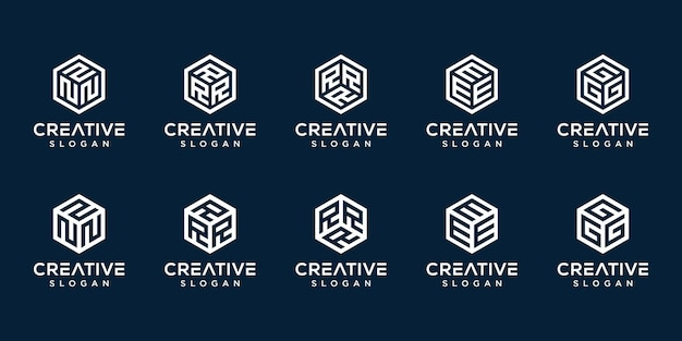 Ensemble de logo monogramme créatif hexagone premium vektor