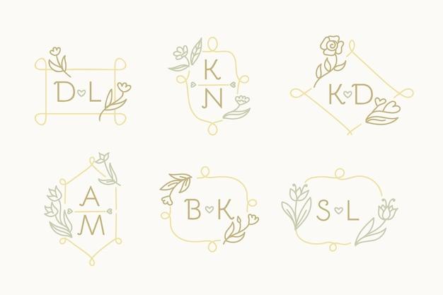 Ensemble de logo monogramme de mariage dessiné à la main