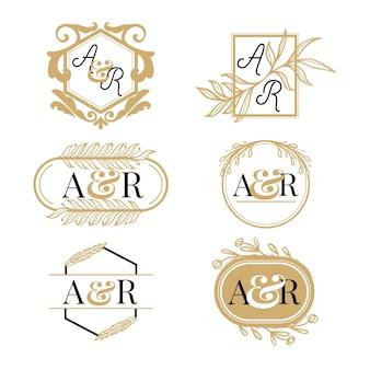 Ensemble de logo monogramme de mariage doré dessiné à la main