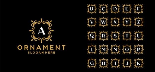 Ensemble de logo monogramme d'ornement de luxe lettre initiale. ensemble de bague couronne décorative. modèle de logo alphabet initial de luxe en argent. vecteur premium