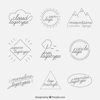 Ensemble de logo nature monoline