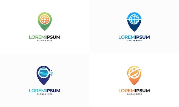 Ensemble de logo de navigation world pin place conçoit le vecteur de concept, le logo de point internet conçoit le symbole d'illustration de concept