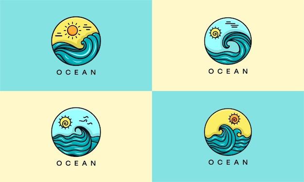 Ensemble de logo océan