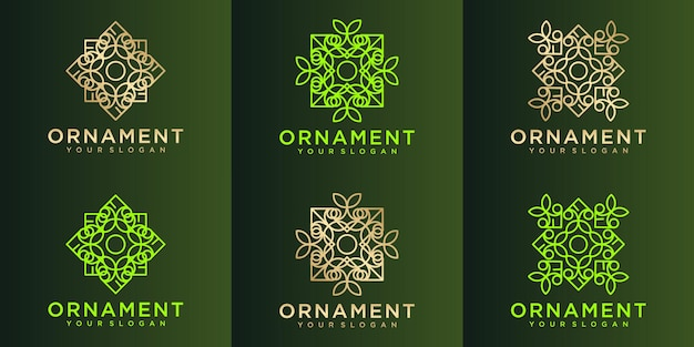 Ensemble de logo d'ornement de nature