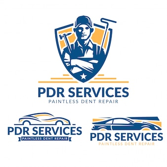 Ensemble de logo paintless dent repair, pack logo de service pdr, collection