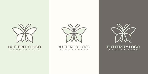 Ensemble de logo papillon abstrait féminin