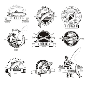 Ensemble de logo de pêche vintage
