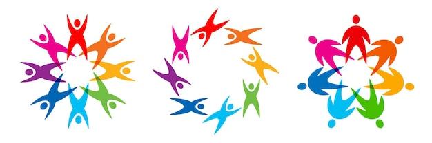 Ensemble de logo de personnes de cercle icône multiculturelle colorée insigne de bénévole symbole de charité vecteur