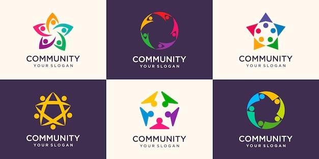 Ensemble de logo de personnes avec un design coloré. modèle de conception de logo simple
