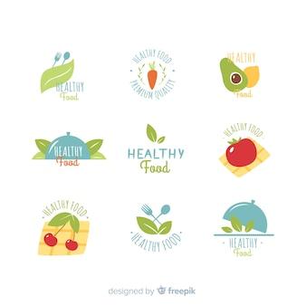 Ensemble de logo plat des aliments sains