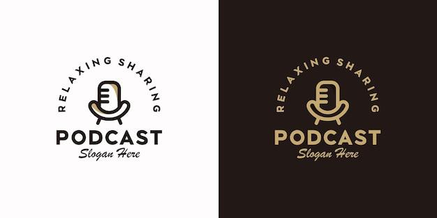 Ensemble de logo de podcast avec concept de chaise et de microphone, logo de référence