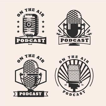 Ensemble De Logo De Podcast Vintage Vecteur gratuit