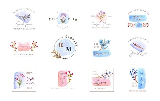 Ensemble de logo premade avec aquarelle florale