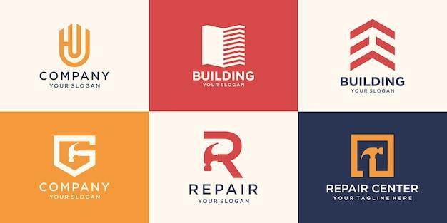 Ensemble de logo de réparation créatif
