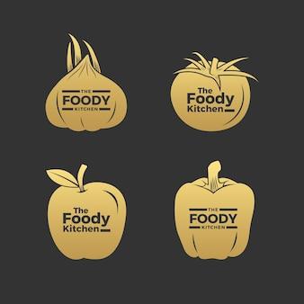 Ensemble de logo de restaurant rétro doré