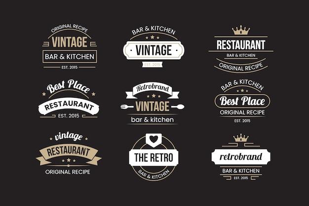 Ensemble de logo de restaurant rétro