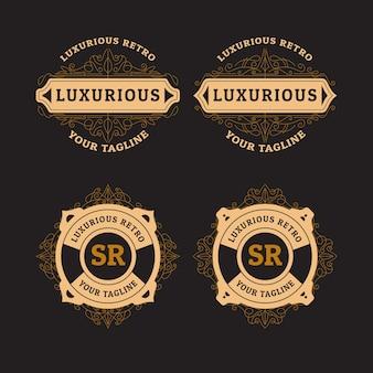 Ensemble de logo rétro de luxe