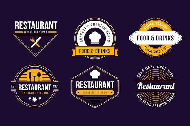 Ensemble de logo rétro de restaurant