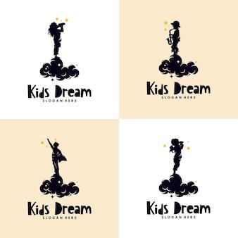 Ensemble De Logo De Rêves D'enfants Vecteur Premium