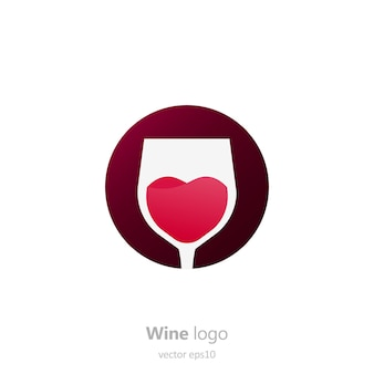 Ensemble de logo rond avec un verre de vin. capsule avec un liquide en mouvement.