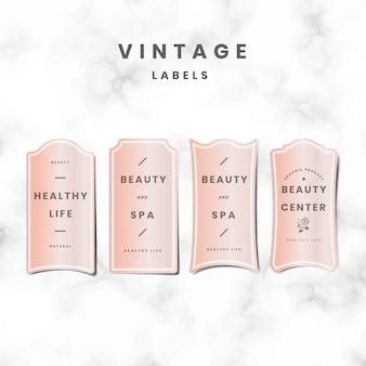 Ensemble de logo rose pastel minimal