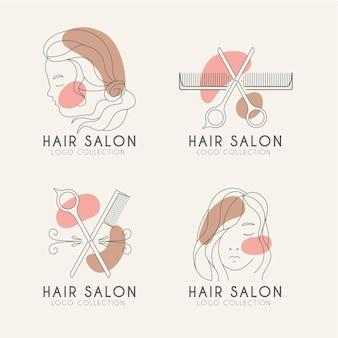 Ensemble de logo de salon de coiffure dessiné à la main