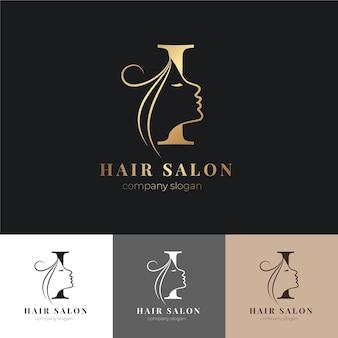 Ensemble de logo de salon de coiffure de luxe