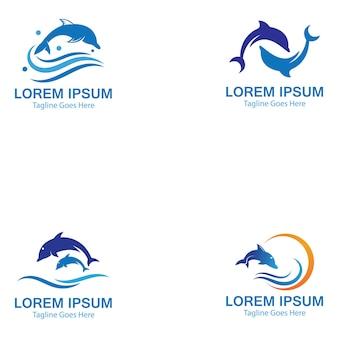 Ensemble de logo de saut de poisson intelligent dolphin