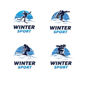Ensemble de logo de sport d'hiver. logo de snowboard