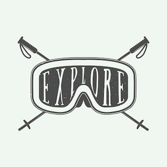 Ensemble de logo de sport d'hiver vintage