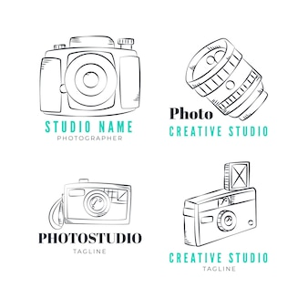 Ensemble de logo de studio de photographie dessiné à la main