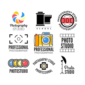 Ensemble de logo de studio de photographie et photo.