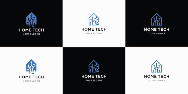 Ensemble de logo de technologie à domicile créatif avec modèle de logo de forme abstraite