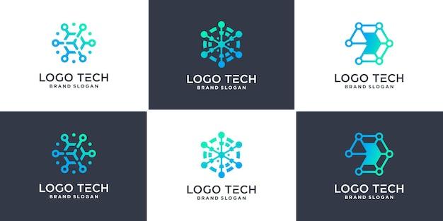 Ensemble de logo de technologie hexagonale avec style de ligne géométrique vecteur premium