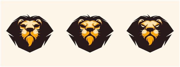 Ensemble de logo tête de lion.
