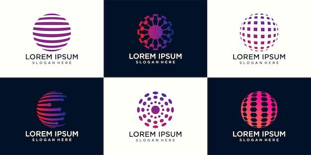 Ensemble de logo vectoriel abstrait en forme de sphère et logo pour les entreprises, la technologie mondiale.