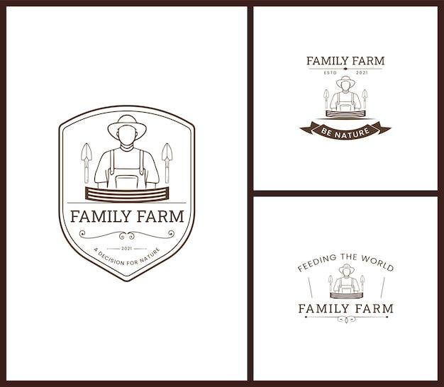 Ensemble de logo vectoriel d'insigne de ferme